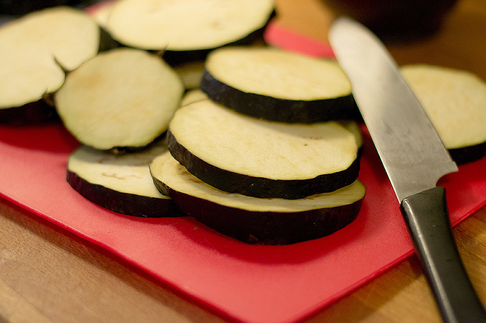 The sliced Eggplant