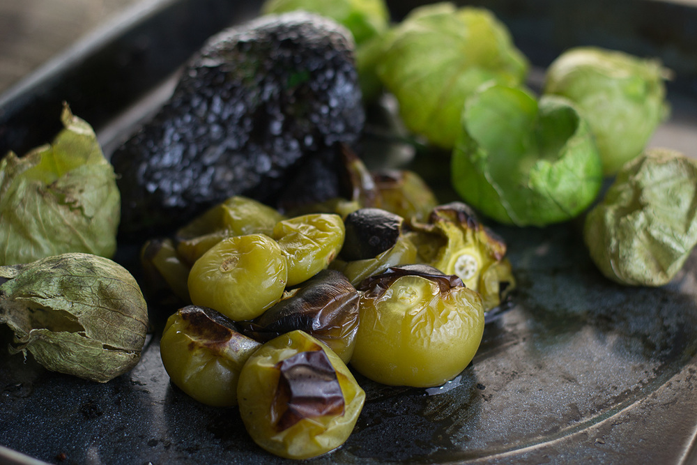 The roasted Tomatillos and Poblano