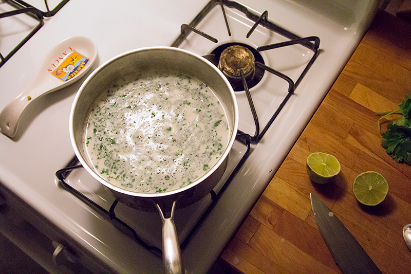 Milk, Cilantro and salt.