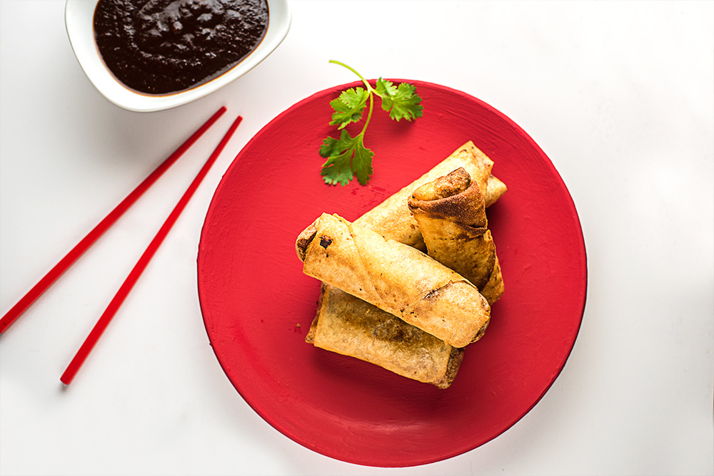 Sweet & Spicy Spring Rolls with Tamarind & Chili Garlic Sauce