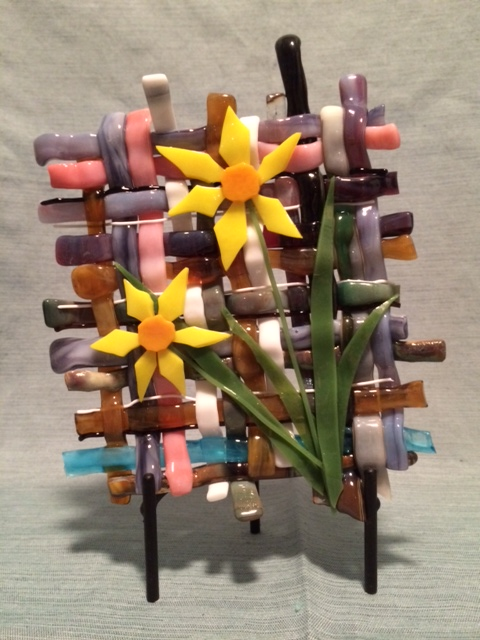 Sharon Dombrowski Woven Glass and daffodils.JPG