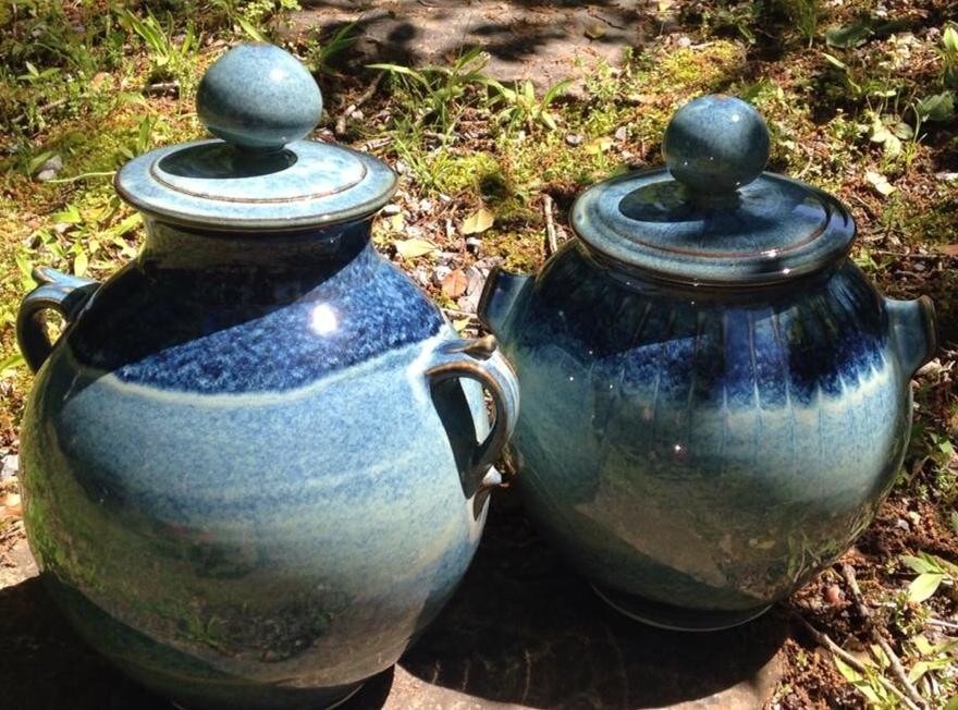 John Watters 2 blue pots in yard.JPG