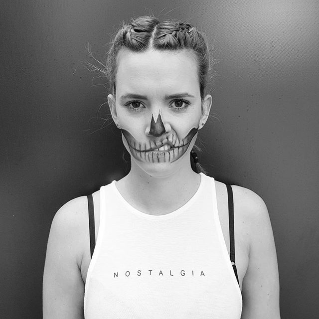 Nice do something artistic that doesn't use a computer. #facepaint #skull #halloween