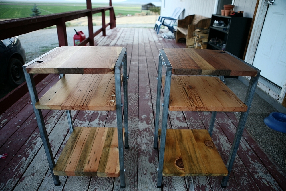 Farmhouse bedside tables with reclaimed lumber and recycled metal.