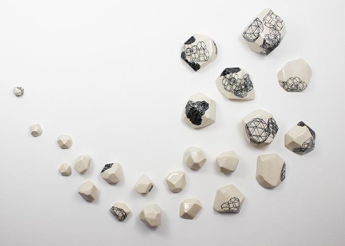 Intuihedron Swoop, 2014.  ceramic, underglaze transfers.   38x45x5