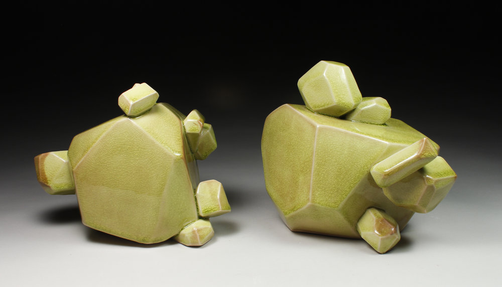 Pair of Chartreuse Bubble Chunks, 2017