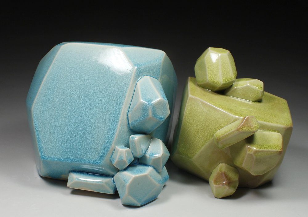 Pair of Bubble Chunks (Aqua and Chartreause), 2017
