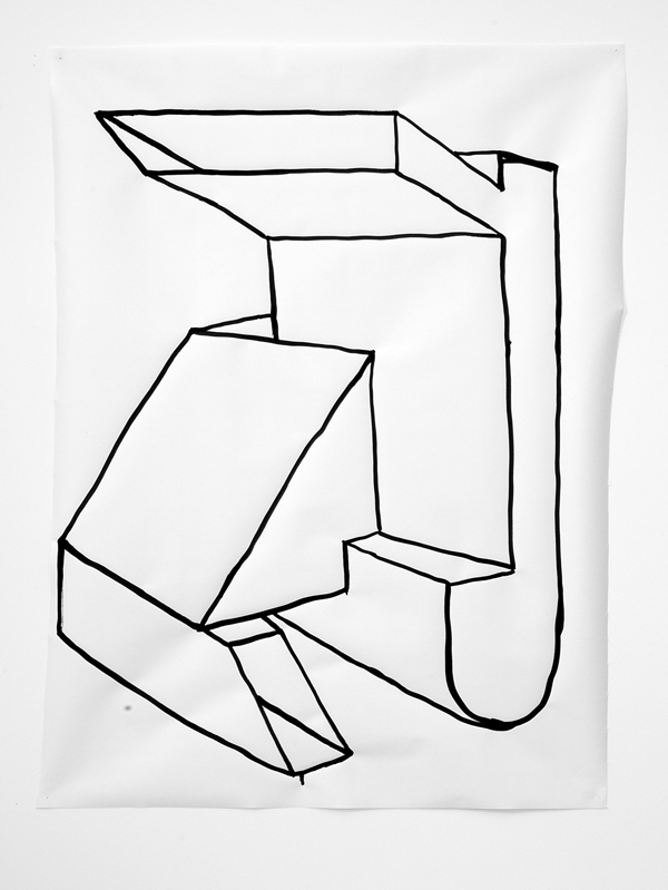 "Untitled Drawing 27,  2013, ink on paper, 36"" x 29"""