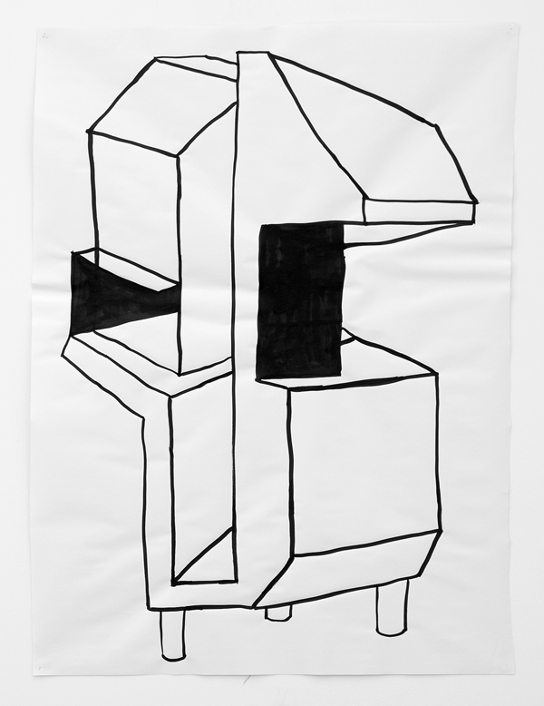 "Untitled Drawing 35,  2013, ink on paper, 36"" x 28"""