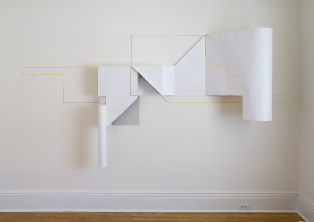 Temporary Structure 2 , 2015, paper, masking tape, and gouache, installation at Evans Contemporary, Peterborough, Ontario