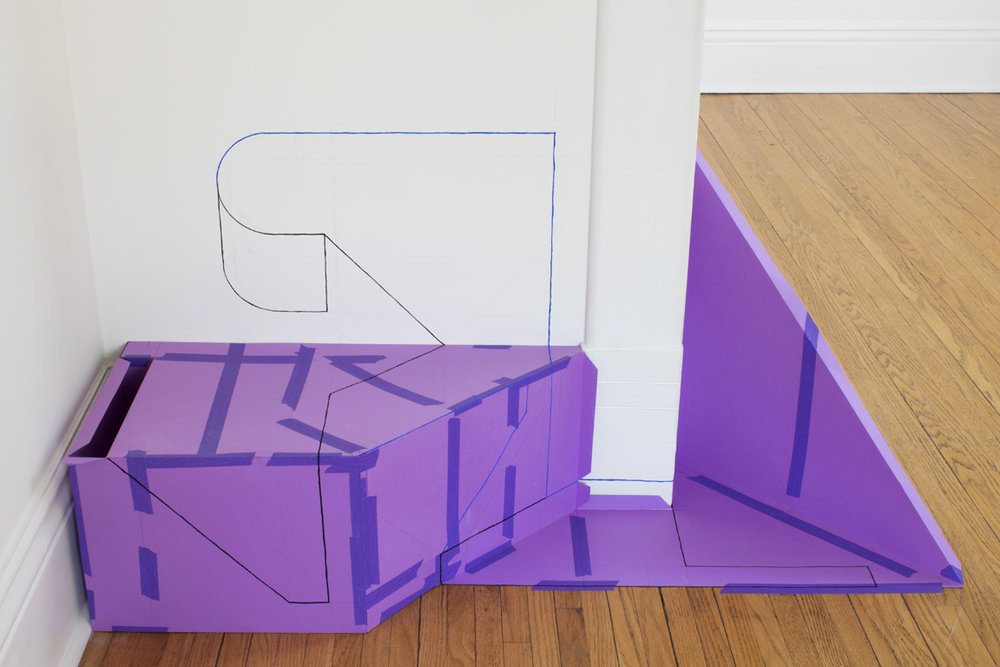 Temporary Structure 3 , 2015, paper, masking tape, and gouache, installation at Evans Contemporary, Peterborough, Ontario