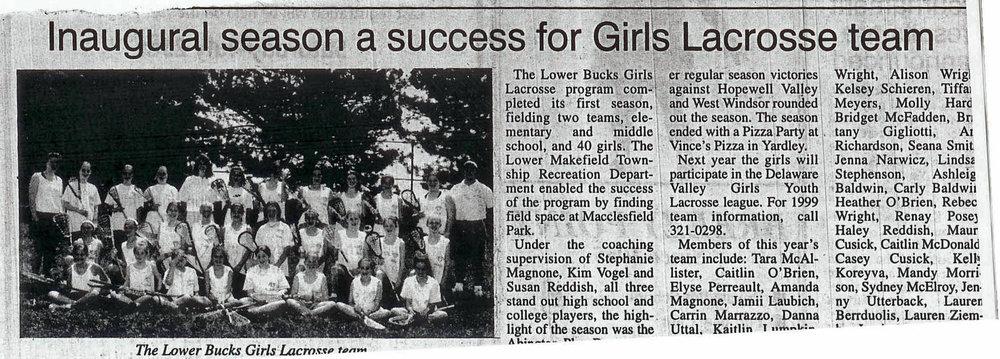1998 Inaugural Season of Girls Lacrosse