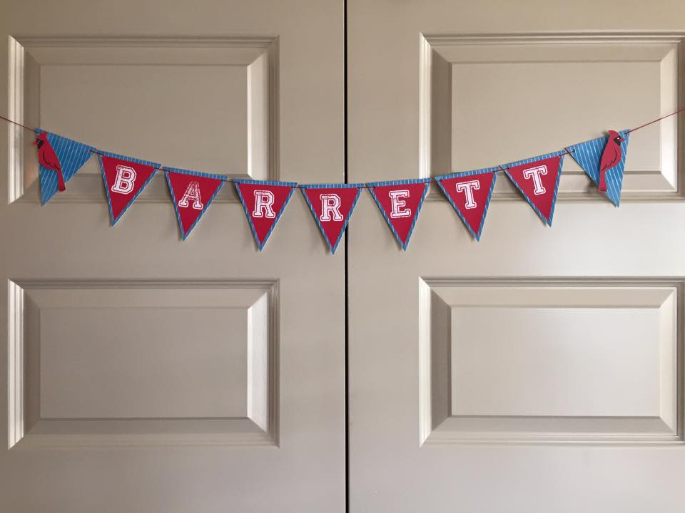 A  Cardinals Banner for Baby Barrett