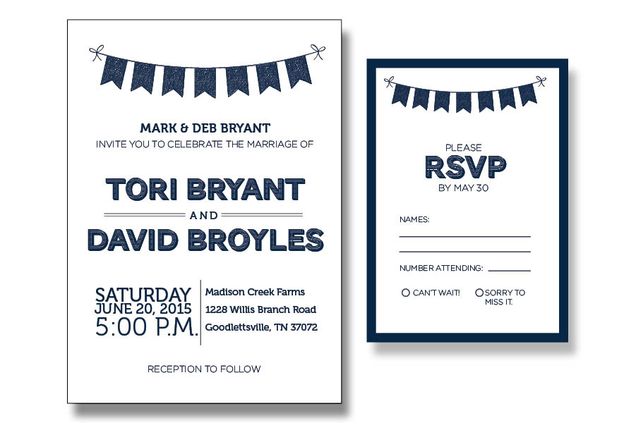 Whimsical Wedding Invite & RSVP for a sweet couple! Printed on 110# cream card stock.