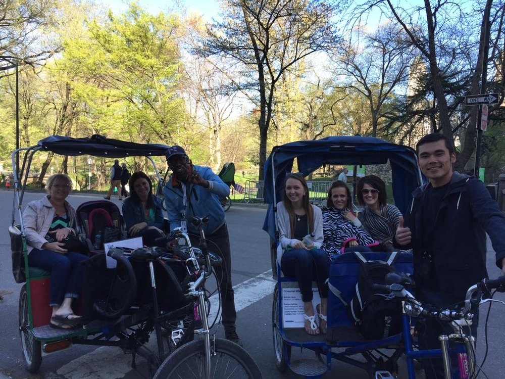 Pedi cab through Central Park -- these guys were the best, they even waited for us while we spent time walking around and accommodated to packing the stroller and told us so much history surrounding the park!!