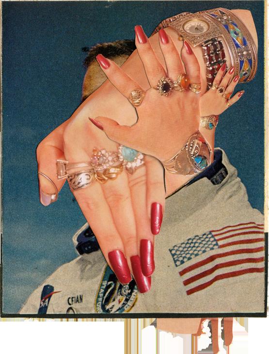 "Astro Nacht III, 2011, LIFE and Pregnant Magazine, 4"" x 5""."