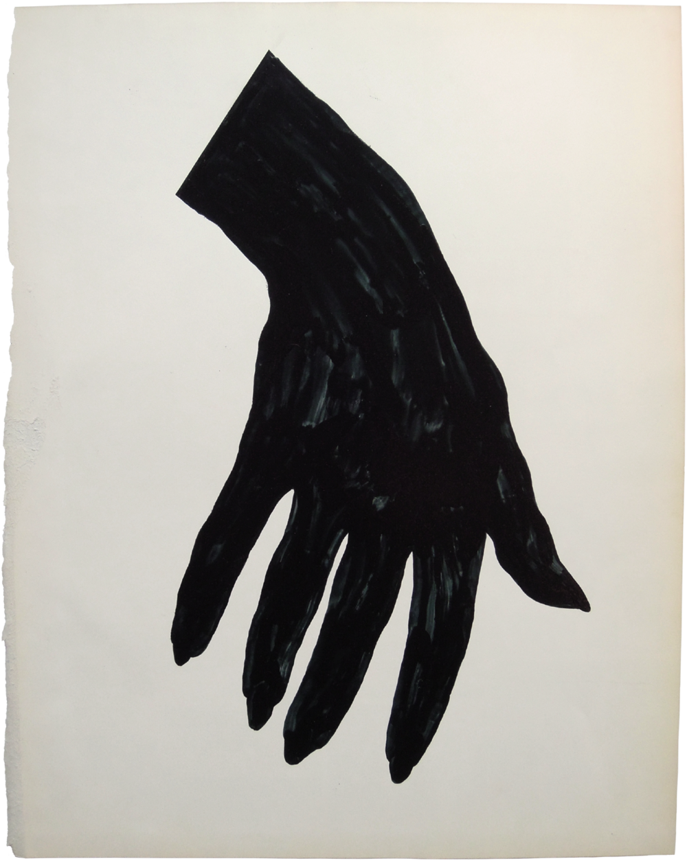 "Black Nail Polish, 2013, nail polish on paper, 11"" x 13""."