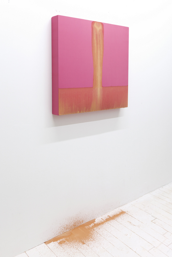 "Flesh on Pink: A Bleeding Picture, 2015, performance of paint on linen, 30"" x 30""."