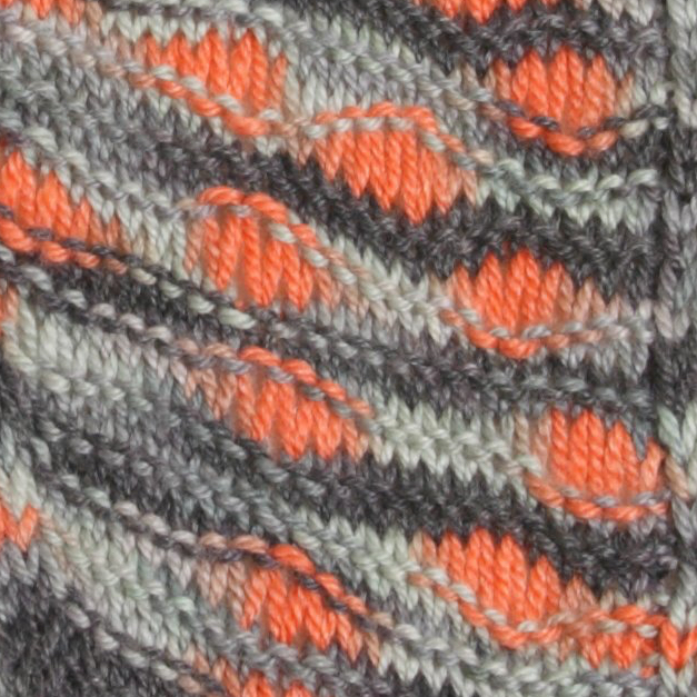 Close-up image of my Orange is the New black Shawl.