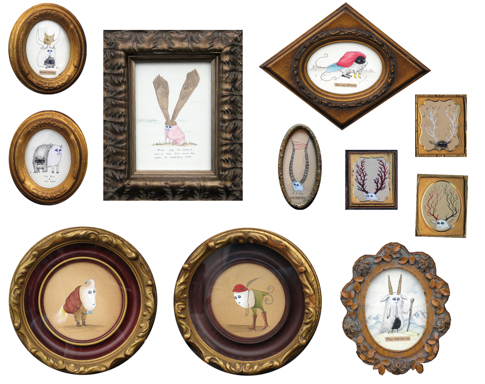 Vintage Framed Drawings and Paintings