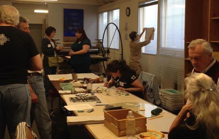 """Social Pressure: Monotype Night"" event at Whiteaker Printmakers in April 2015."