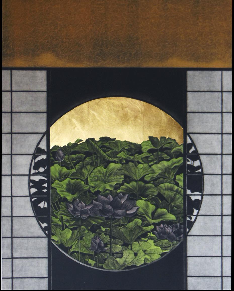 Katsunori Hamanishi Window No.15, 2008 Mezzotint with gold leaf Edition of 50