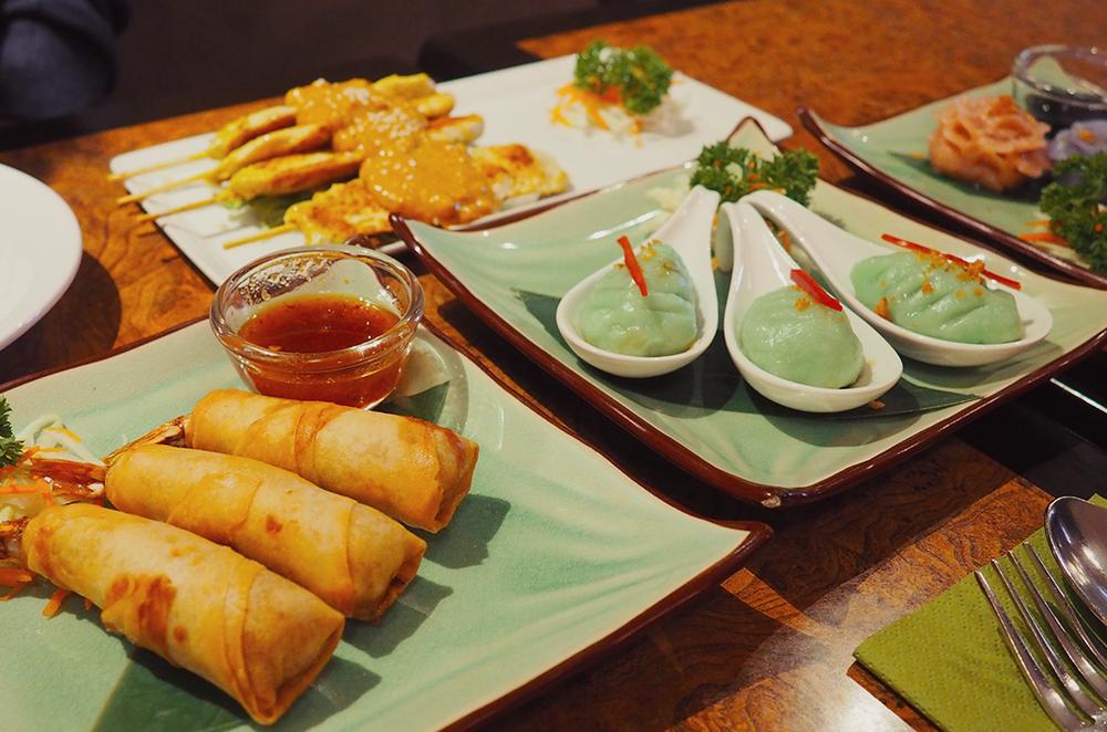 Palm Sugar Royal Thai Richmond Blog Review - bai yok chicken satay spring roll palm blossom