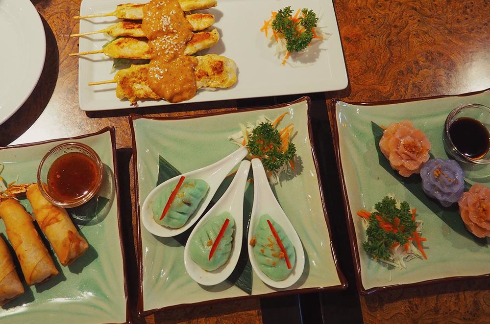 Palm Sugar Royal Thai Richmond Blog Review - chicken satay, bai yok, palm blossom, spring roll