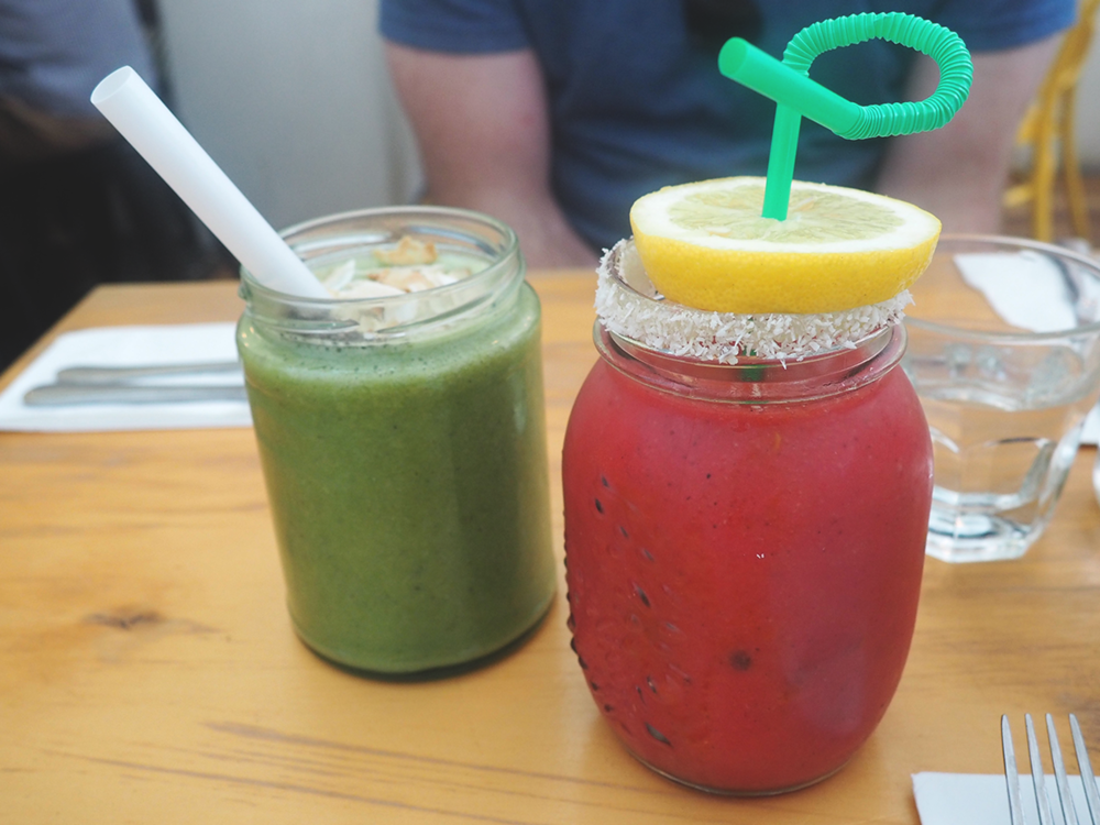 Muharam Cafe Blog Review Hawthorn - gogo green smoothie and mango sunset smoothie