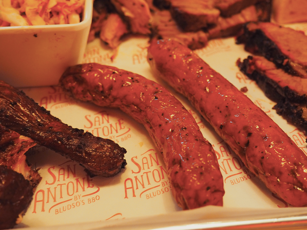 San Antone by Bludso's BBQ - Blog Review Cheddar Jalapenos sausage links
