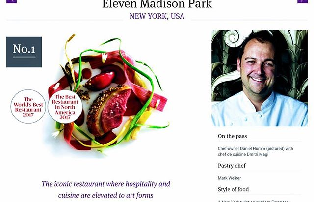 HUGE congrats to @danielhumm, @dmiyri_magi and @wguidara for becoming THE BEST RESTAURANT IN THE WORLD with #elevenmadisonpark at @theworlds50best! We are so happy for you and the team. Having been there recently, we wholeheartedly agree: The creative, delicious food is incredible abd the service impeccable. #top50 #worlds50best #makeitnice #foodoscars
