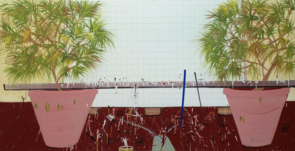 Grid with Big Plants, 2008    Oil on canvas, 108x210 cm