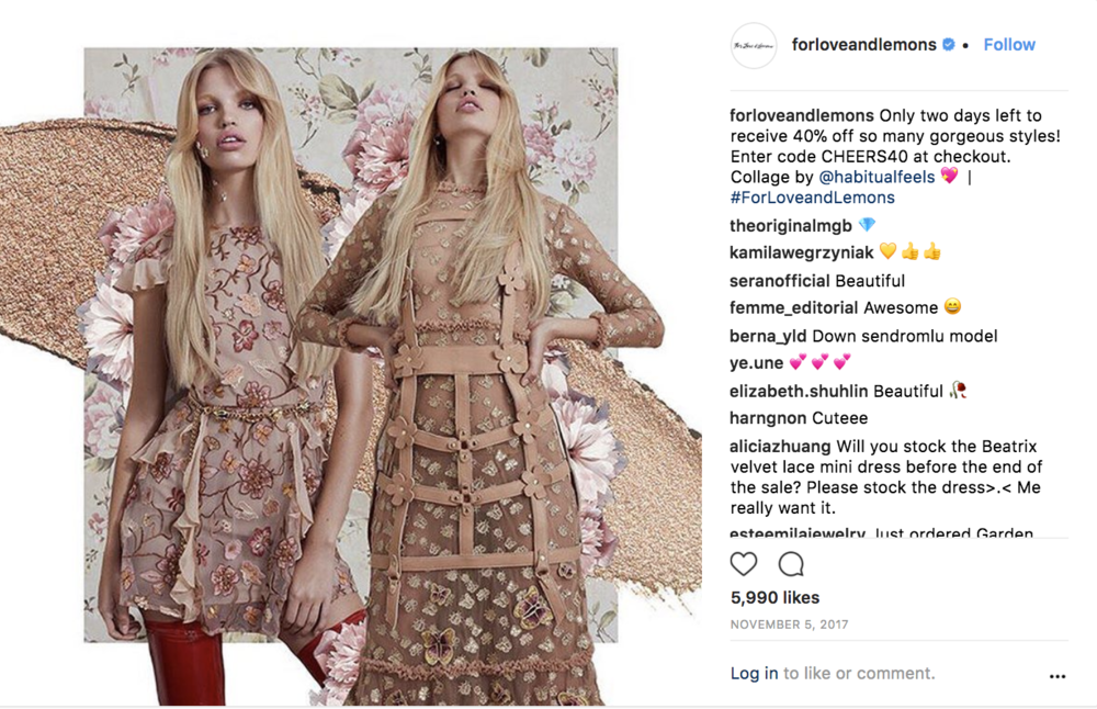 For Love & Lemons Instagram post