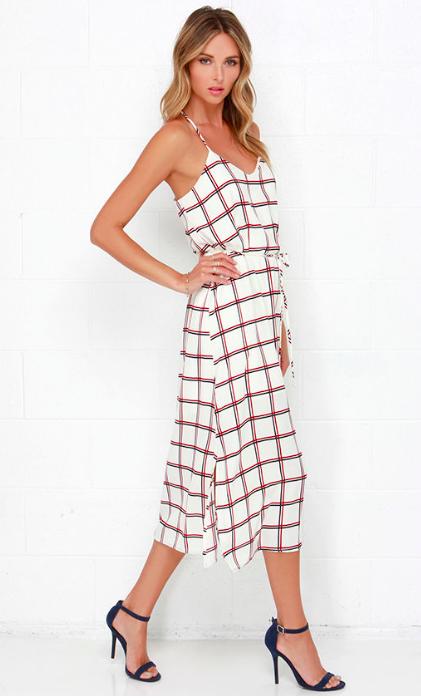 Dee Elle Plaid Attitude Cream Plaid Print Midi Dress $61