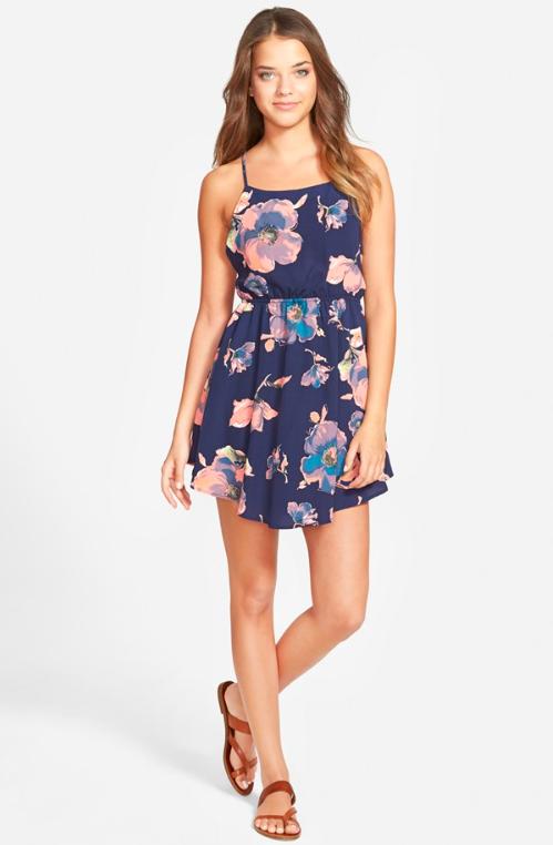 jella c. Floral Print Tie Back Skater Dress $46