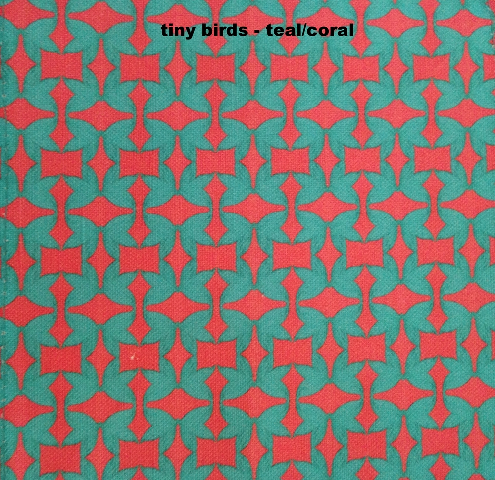 tiny birds- coral/teal