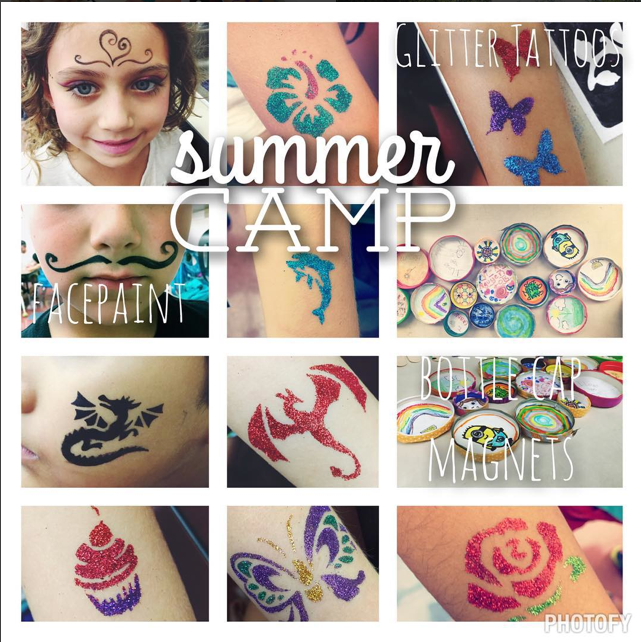 Summer Fun Camp 2015 FacePaint, Glitter Tattos, + Decorative Magnets!