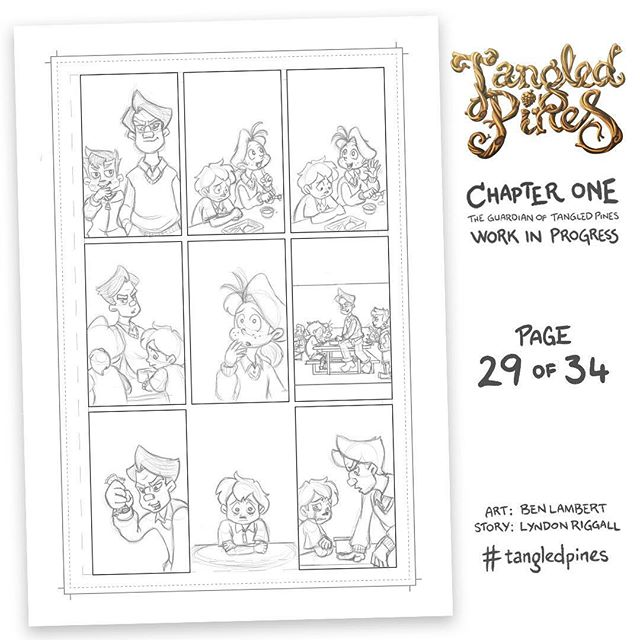 Pete closes in with his crony sniggering behind him. Zig has locked up - he knows this means trouble. His worst fears - of being singled out, of being different, of being unwanted - are playthings for the bully, and he is powerless to defend himself. #tangledpines #comics #wip #bullyingsucks