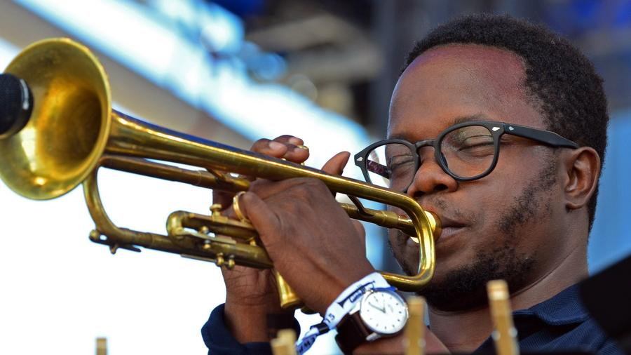 Trumpet player Ambrose Akinmusire performs at the Newport Jazz Festival in Newport, Rhode Island, on July 31, 2015.  (Eva Hambach / AFP/Getty Images)