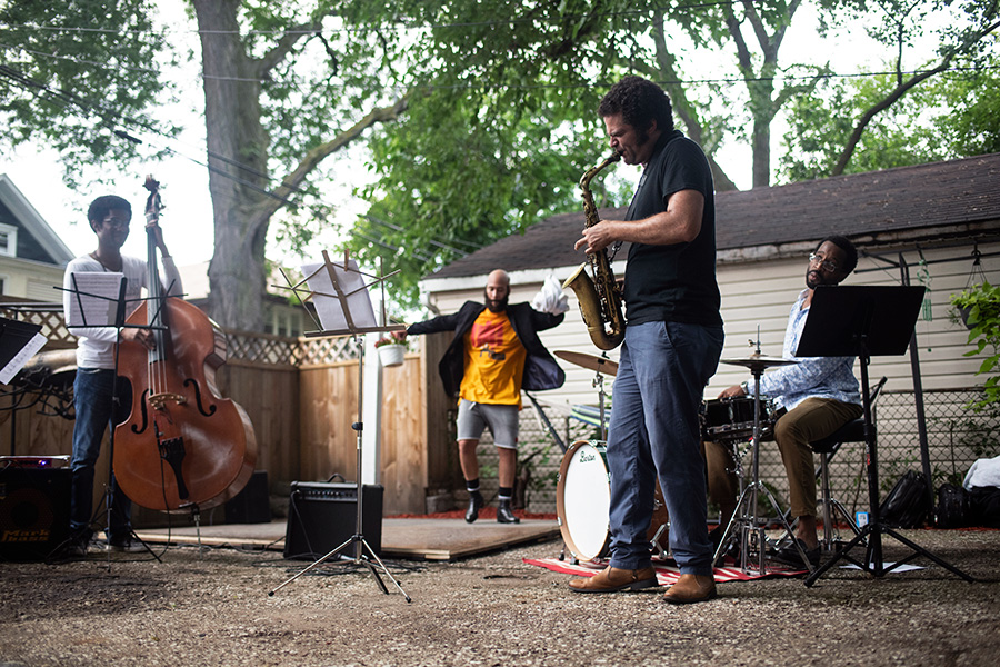 At 7326 S. Paxton, saxophonist and composer Greg Ward and his trio collaborated with dancer Jumaane Taylor on an original performance inspired by the history of the South Shore neighborhood and the beauty of hosts Jonita and Jeannine Sharpe's home.