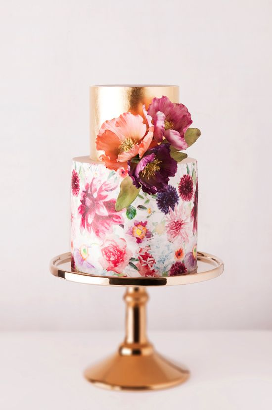 09. gold and berry tone watercolor cake by cake inc - melbourne
