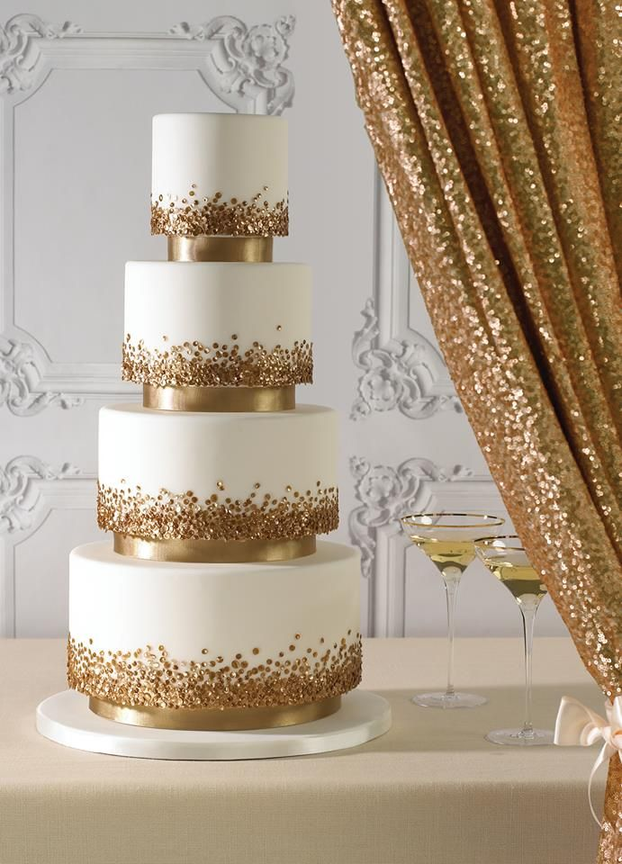 06. gold sequin wedding cake by zoe clark cakes - london