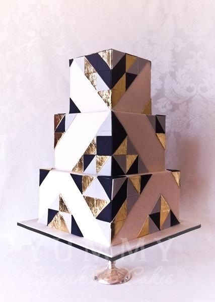 14. black, gray, white and gold art deco cake by yummy cupcakes and cakes - australia