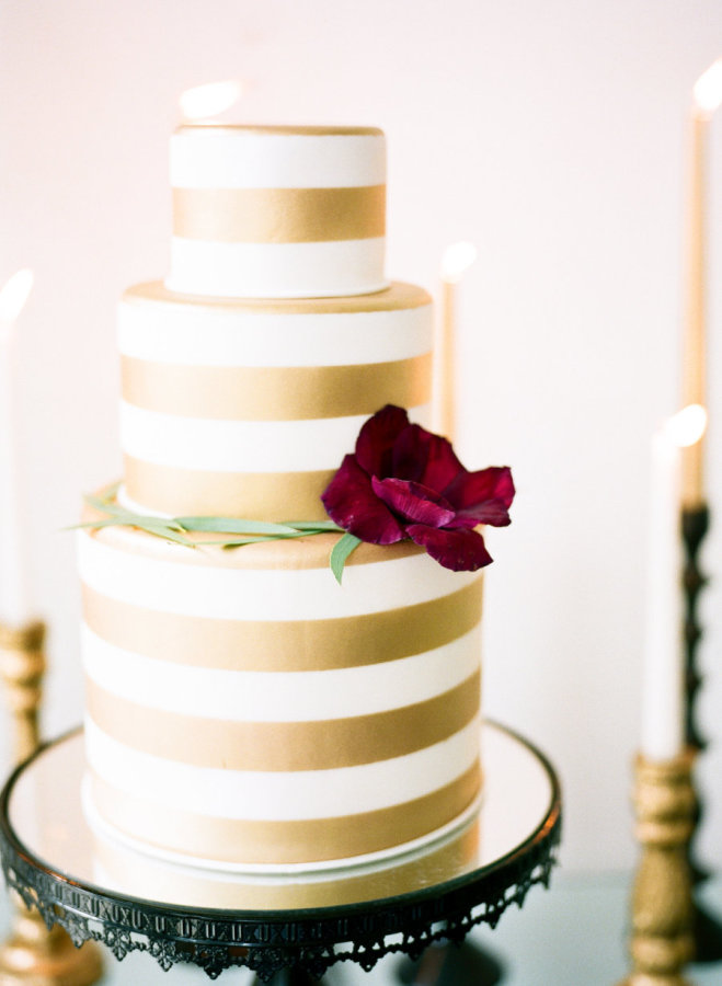 07. gold stripe cake  by melissa's fine pastries  - new orleans