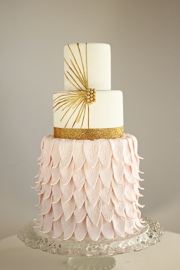11. blush and gold modern wedding cake by andrea howard cakes - edmond