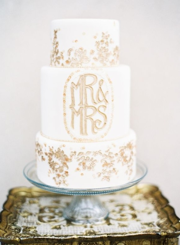 10. gold monogram wedding cake by melissa's fine pastries- new orleans