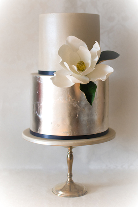 05. gold magnolia wedding cake by yummy cupcakes and cakes - australia