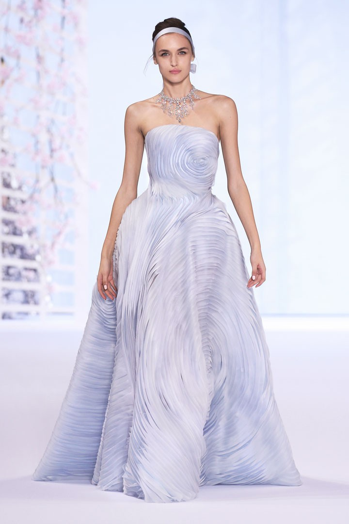 Mist blue silk organza strapless ball gown with shaped organza ribbon embroidery.