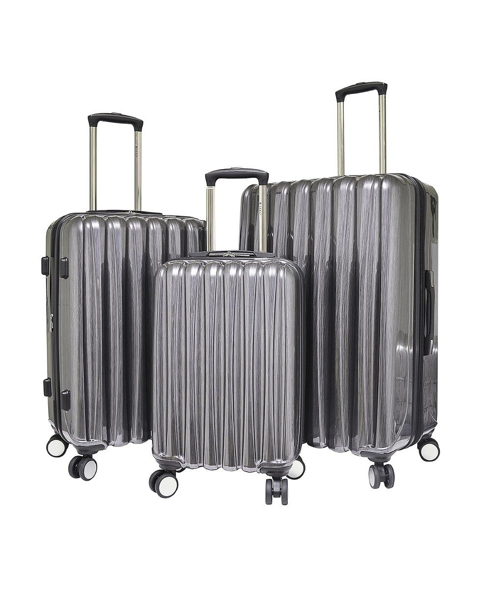 TRAVELERS POLO & RAQUET CLUB 3 Piece (Nova Collection) Expandable Hardside Luggage Set W/ 360° 4x4 (8) Wheel System