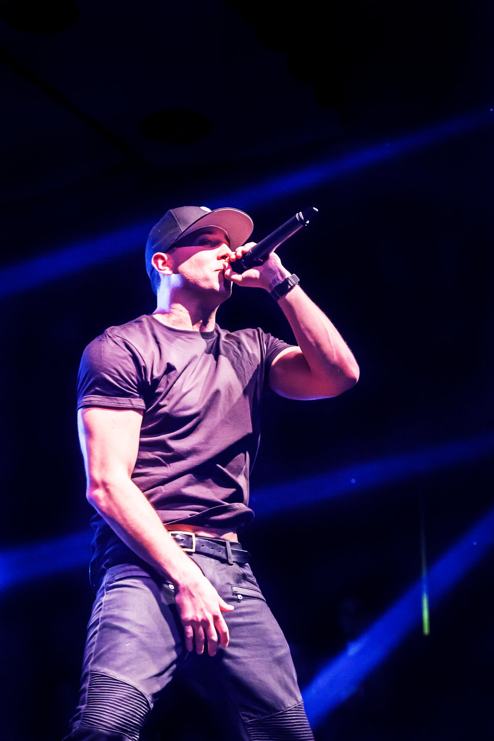 Musician Mike Stud performing at a concert at University of Iowa, Nov. 2014.